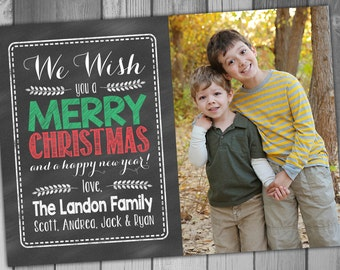 Photo Christmas Card Holiday Photo Card Printable Christmas Card Christmas Template Chalkboard Christmas Card Chalkboard Photo Christmas