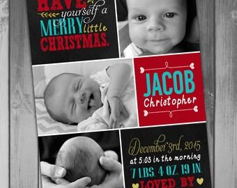 Birth Announcement Baby Announcement Holiday Card Christmas Birth Baby Boy Birth Printable Christmas Photo Card Photo Birth