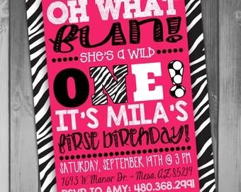 Birthday Invitation Girl Birthday Girl First Girl 1st Wild One Zebra Invitation Zebra Birthday Printable Birthday Hot Pink Polka Dots