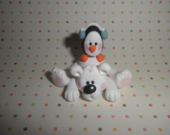 Penguin And Polar Bear,Polymer Clay, Handmade Clay Gift,Home Decor, Clay Figurine,Clay Sculpture,Collectible,Whimsical Figurine,Shelf Sitter