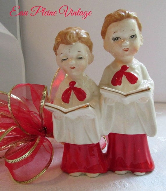 Vintage Ceramic Christmas Carolers Choir Boy And Girl: Ceramic Choir Boys Red White Christmas By EauPleineVintage