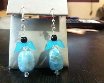 Blue agate nugget earrings