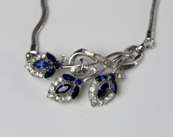 Vintage Trifari Pat. Pend. clear and  Royal blue rhinestone necklace #251