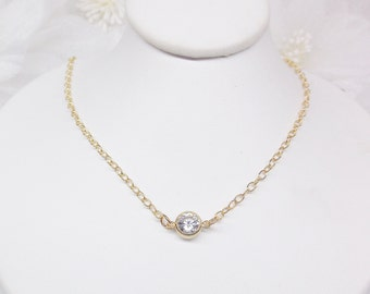 Cubic Zirconia Necklace Gold Necklace Gold Filled Necklace Gold Chain Necklace 14k Gold Filled Necklace Gold CZ Necklace BuyAny3+Get1 Free