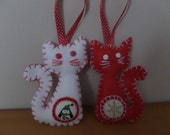 Hand Made Christmas Cat Scandi Style Felt Tree Decoration Ornament - pack of 2 Red or White