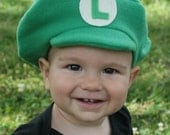 Super Mario Brothers Inspired-INFANT or TODDLER Fleece LUIGI Hat  - Dress Up - Dramatic Play