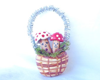Handmade Paper Clay Basket Vintage Inspired Kitschy Toadstools Christmass Ornament Woodland Decor