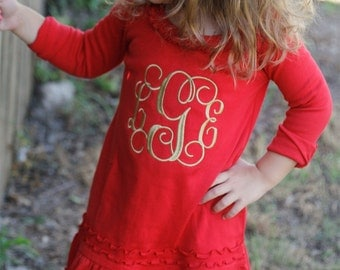 Monogrammed Thanksgiving Christmas dress for baby, toddler, little girl. Fall Red and Gold. Girl's ruffle dress with Embroidered monogram.