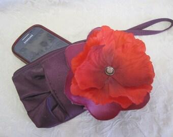 Purple Satin Phone Case SMALL Zipper Wristlet Detachable HUGE Fabric Flower Bright Red Orange Mauve Grape Lilac Antique Abalone Button