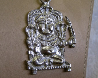 Hindu God Pendant Necklace Signed DIONNE Vintage 70s Huge Oversized Tribal Cobra Dagger Figural Silver RARE Collectible