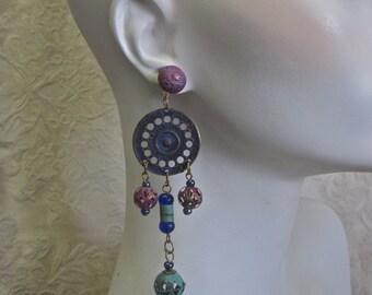 Boho Artisan Earrings Long Dangles Cut Out Hand Crafted Beads Ethnic Gypsy Hippie Statement Bronze Metal Aqua Purple Royal Blue Hematite