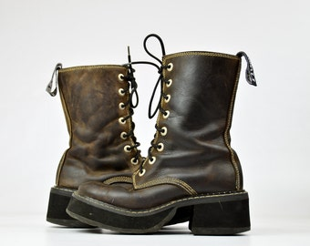 90s Club Kid Platform Chunky Heeled Brown Leather Lace Up Boots, 8