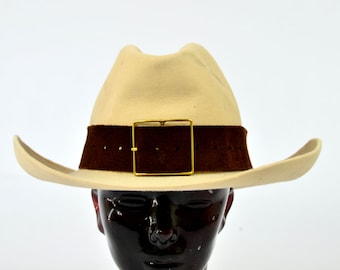 Vintage Stetson Tan Wool with Thick Leather Band Buffalo Bill Cowboy Hat