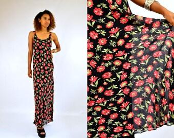 90s Grunge Dress Rose Garden Black and Red Roses Floral Grunge Maxi Dress