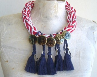 Nautical necklace red blue and white//marine statement tassel