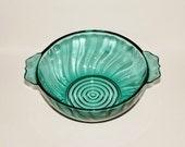 Jeanette Glass Company Ultramarine Swirl lug soup bowl 1937 - 1938 depression glass - rare - collectible