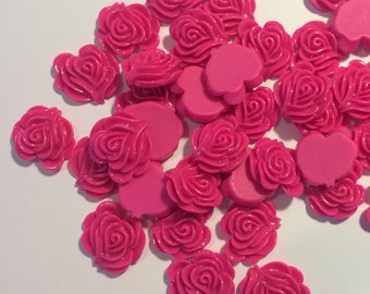 Wholesale Lot of 10 Fuchsia/Hot Pink Rose Cabochon Flowers for Jewelry (T)