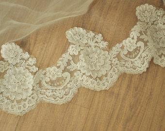 Wedding Gown and Veil Lace Trim, French Alencon Lace Trim, Ivory Alencon Trim Lace 2 yards