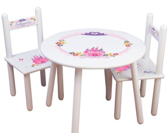 Girls Princess Table & Chair Set - Frozen Kids Furniture Childs Table Personalized Chairs Pink Castle for bedroom or playroom TABLESETRND307