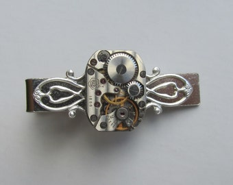 Steampunk Tie Clip with small vintage watch movement . Vintage upcycled mens Tie Tack, Industrial chic, Gift under 30 Dollars