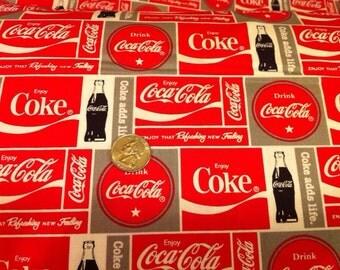 Coca Cola - 5 Fat Quarter mix Licensed Coke Prints Cotton Fabric