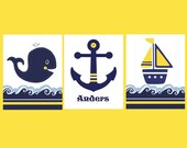 BOYS NAUTICAL BATHROOM, Kids Nautical decor, navy yellow bedding, whale bathroom, personalized wall art, Anchor, boat, set of 3, children's