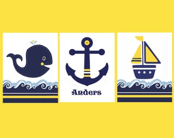 NAUTICAL BOYS ROOM, Kids Nautical decor, navy yellow, boat bedding, whale bathroom, personalized wall art, Anchor, sets of 3, children's art
