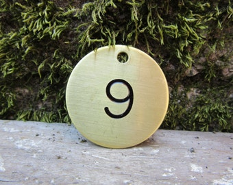 Number 9 Tag Brass Metal Round Tag #9 Industrial Tag Vintage Styled Keychain Address House Apartment Number Tag Jewelry Supply 1 1/2 Inch