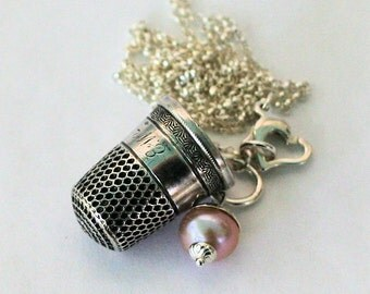 Acorn and Thimble Kisses Peter Pan and Wendy Necklace Solid Sterling Silver and Freshwater Pearl