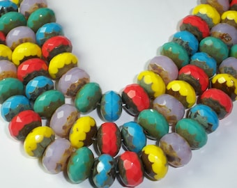 Czech Glass Rondelle 9x14mm Picasso Mix Red Blue Yellow Pink Turquoise CONFETTI (10)