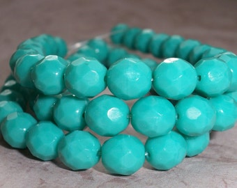 Turquoise Bead 8mm Czech Glass Faceted Round Opaque LITTLE DROPS of TURQUOISE (20)