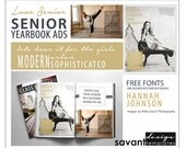 Yearbook Ads, Senior Graduation, Photoshop Templates, Luxe Senior B, Magazine style, High School Yearbook Ad for Senior Photographers