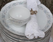 Laurel China Tea Plates & Cups (Set of 12) Snack plates ~ Bridal Luncheon or Tea Luncheon