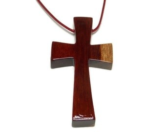 Cross Necklace - Men's Necklace - Minimalist Cross Pendant - Medium Cross Necklace - Gifts Under 20