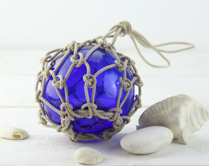 "Beach Decor Fishing Float in Rope Netting Cobalt Blue  6"", Vintage Style by SEASTYLE"