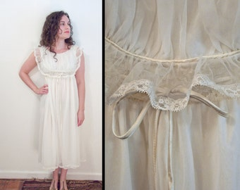 1950s CARILLON Nightgown White Sheer Lace Trim Adjustable Empire Waist