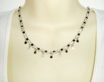 Gorgeous Black and Crystal Rhinestone Choker - Delicate and Sparkling Black and Clear Chain with Matching Drops in Feminine Choker Necklace