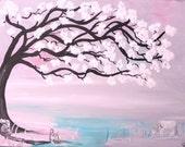 Fantasy painting, pink pony painting, wild pony art, Pink, fairy house, fairy art, fine art