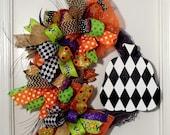 Halloween Wreath Grapevine, Halloween Wreath, Pumpkin Wreath, Harlequin Pumpkin Wreath, Black and White Pumpkin, Trick or Treat