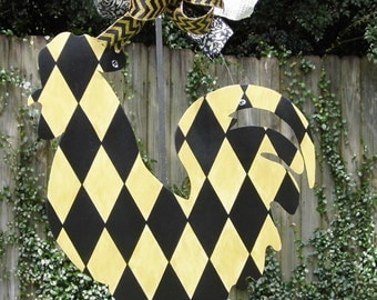 Rooster Door Hanger, Black and Gold, Black and Gold Rooster, Farm Animals, Wood Sign