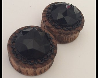 Pick Size Black Gem Zebrawood  Organic ear plugs gauges