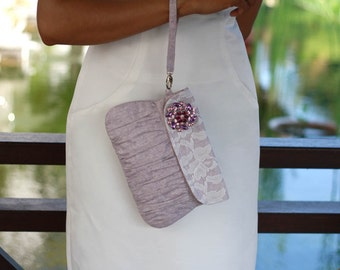 Light purple clutch purse, wedding clutch, linen and lace clutch with purple rhinestone brooch