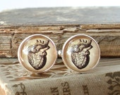 Anatomical Heart Cuff Links / Cufflinks in Silver - Antique Anatomical Print Cuff Links - Wedding