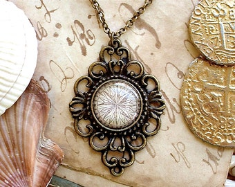 Compass Rose Necklace -  Compass Necklace in Brass - Pirate Jewelry