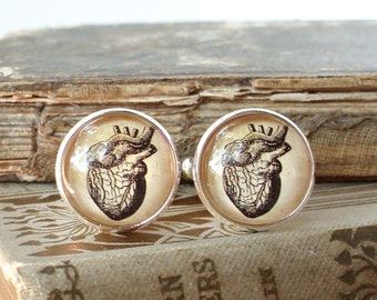 Anatomical Heart Cuff Links / Cufflinks in Silver - Antique Anatomical Print Cuff Links - Wedding