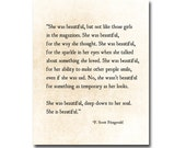 F. Scott Fitzgerald Quote Print, She Was Beautiful, Fitzgerald Quote Art, Literary Wall Art, Valentines Day Gift, Love Quote Print Book Art