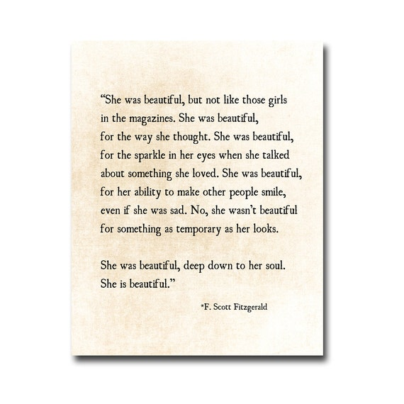 Love Quotes F Scott Fitzgerald Entrancing Fscott Fitzgerald Quote Print She Was Beautiful Fitzgerald