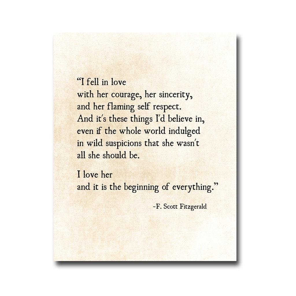 F Scott Fitzgerald Love Quotes: I Fell In Love Quote F. Scott Fitzgerald Quote Love Romantic
