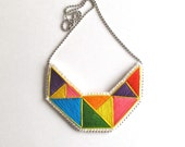 Hand embroidered necklace geometric bright primary colors orange purple yellow red green and blue modern embroidery An Astrid Endeavor