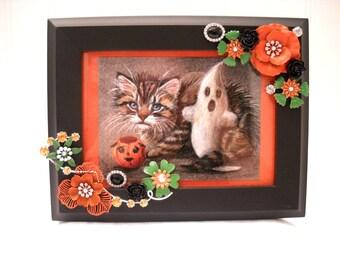 Framed Jewelry Halloween Postcard - Halloween Trio - 1900's Replic - Wooden Frame